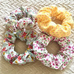 Set of 4 handmade floral colourful hair scrunchies
